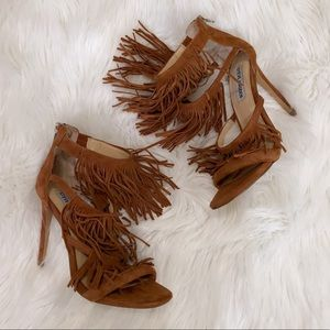 Suede Fringe heels